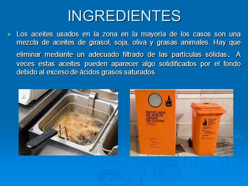 INGREDIENTES Los aceites usados en la zona en la mayoría de los casos son una mezcla de aceites de girasol, soja, oliva y grasas animales. Hay que eli