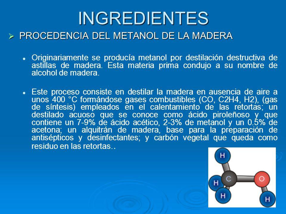 INGREDIENTES PROCEDENCIA DEL METANOL DE LA MADERA PROCEDENCIA DEL METANOL DE LA MADERA Originariamente se producía metanol por destilación destructiva