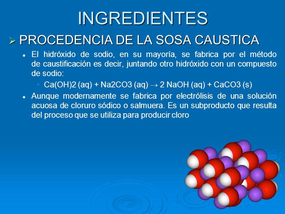 INGREDIENTES PROCEDENCIA DE LA SOSA CAUSTICA PROCEDENCIA DE LA SOSA CAUSTICA El hidróxido de sodio, en su mayoría, se fabrica por el método de caustif