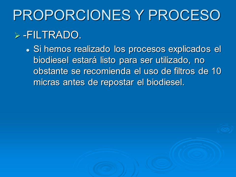 PROPORCIONES Y PROCESO -FILTRADO. -FILTRADO. Si hemos realizado los procesos explicados el biodiesel estará listo para ser utilizado, no obstante se r