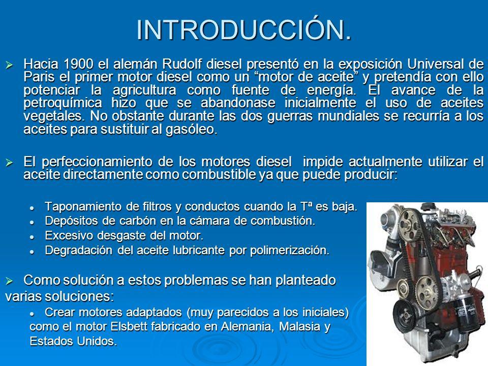 INTRODUCCIÓN. Hacia 1900 el alemán Rudolf diesel presentó en la exposición Universal de Paris el primer motor diesel como un motor de aceite y pretend