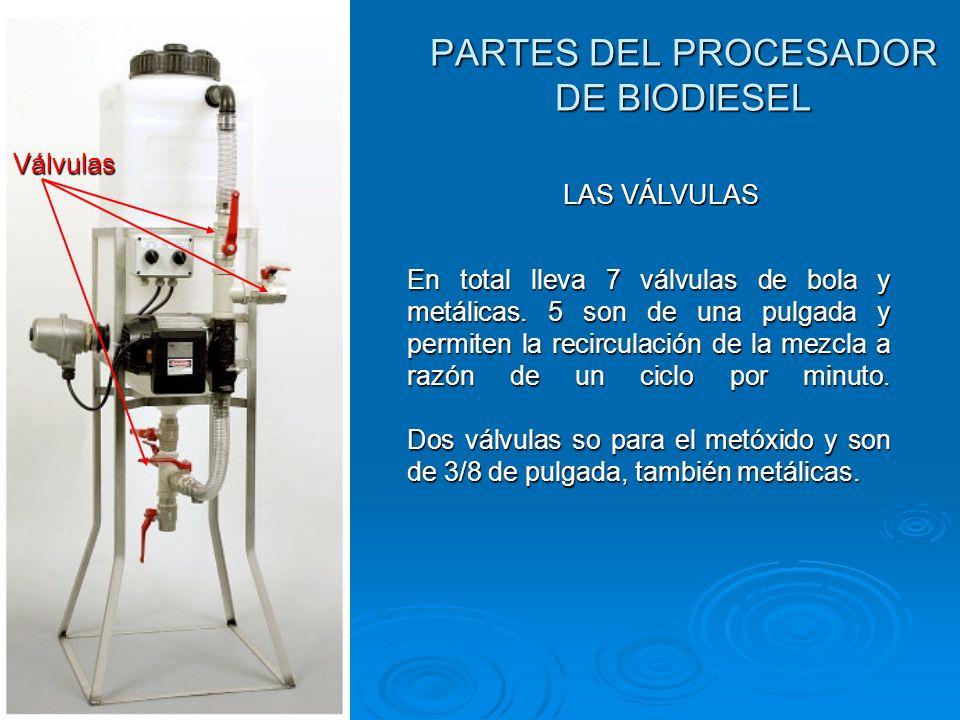 PARTES DEL PROCESADOR DE BIODIESEL Válvulas LAS VÁLVULAS En total lleva 7 válvulas de bola y metálicas. 5 son de una pulgada y permiten la recirculaci