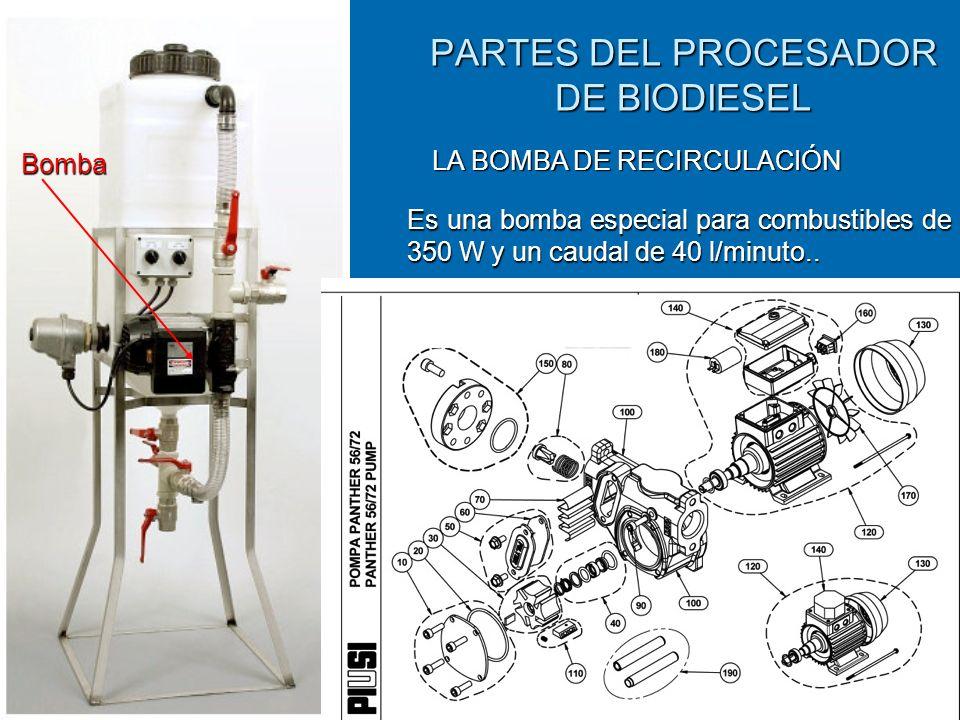 PARTES DEL PROCESADOR DE BIODIESEL Bomba LA BOMBA DE RECIRCULACIÓN Es una bomba especial para combustibles de 350 W y un caudal de 40 l/minuto..