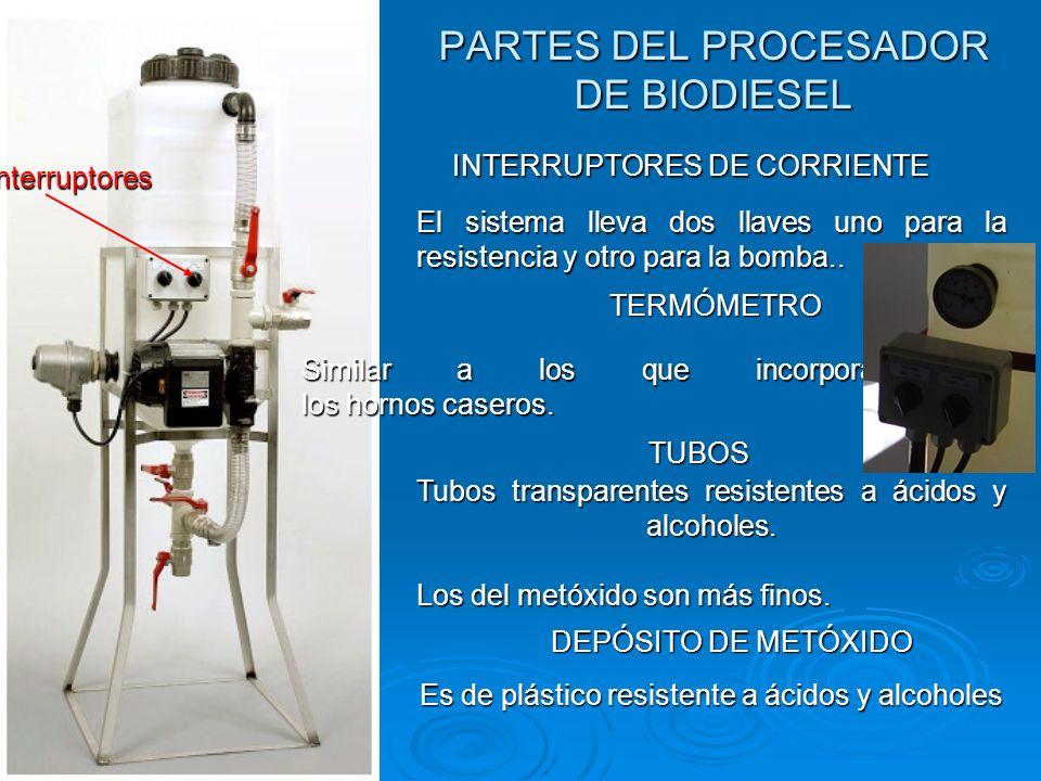 PARTES DEL PROCESADOR DE BIODIESEL Interruptores INTERRUPTORES DE CORRIENTE El sistema lleva dos llaves uno para la resistencia y otro para la bomba..