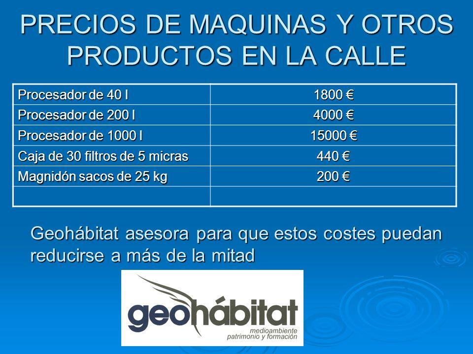 PRECIOS DE MAQUINAS Y OTROS PRODUCTOS EN LA CALLE Procesador de 40 l 1800 1800 Procesador de 200 l 4000 4000 Procesador de 1000 l 15000 15000 Caja de