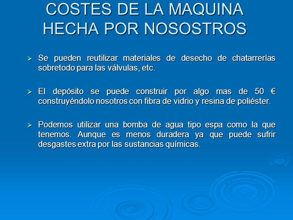 COSTES DE LA MAQUINA HECHA POR NOSOSTROS Se pueden reutilizar materiales de desecho de chatarrerías sobretodo para las válvulas, etc. Se pueden reutil