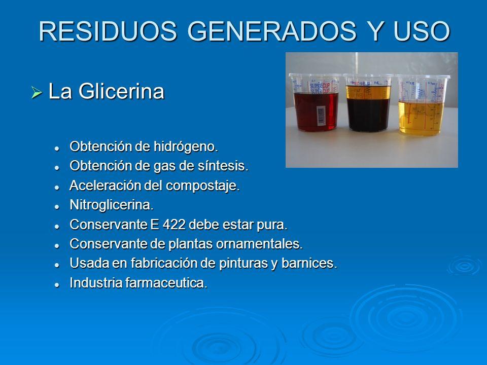 RESIDUOS GENERADOS Y USO La Glicerina La Glicerina Obtención de hidrógeno. Obtención de hidrógeno. Obtención de gas de síntesis. Obtención de gas de s