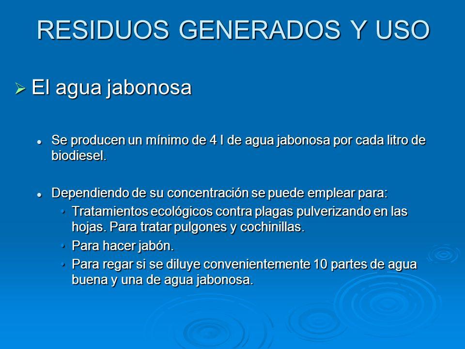 RESIDUOS GENERADOS Y USO El agua jabonosa El agua jabonosa Se producen un mínimo de 4 l de agua jabonosa por cada litro de biodiesel. Se producen un m