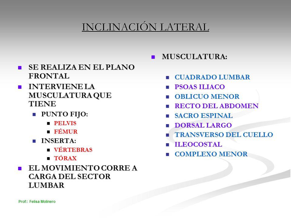 Prof:: Felisa Molinero INCLINACIÓN LATERAL SE REALIZA EN EL PLANO FRONTAL SE REALIZA EN EL PLANO FRONTAL INTERVIENE LA MUSCULATURA QUE TIENE INTERVIEN