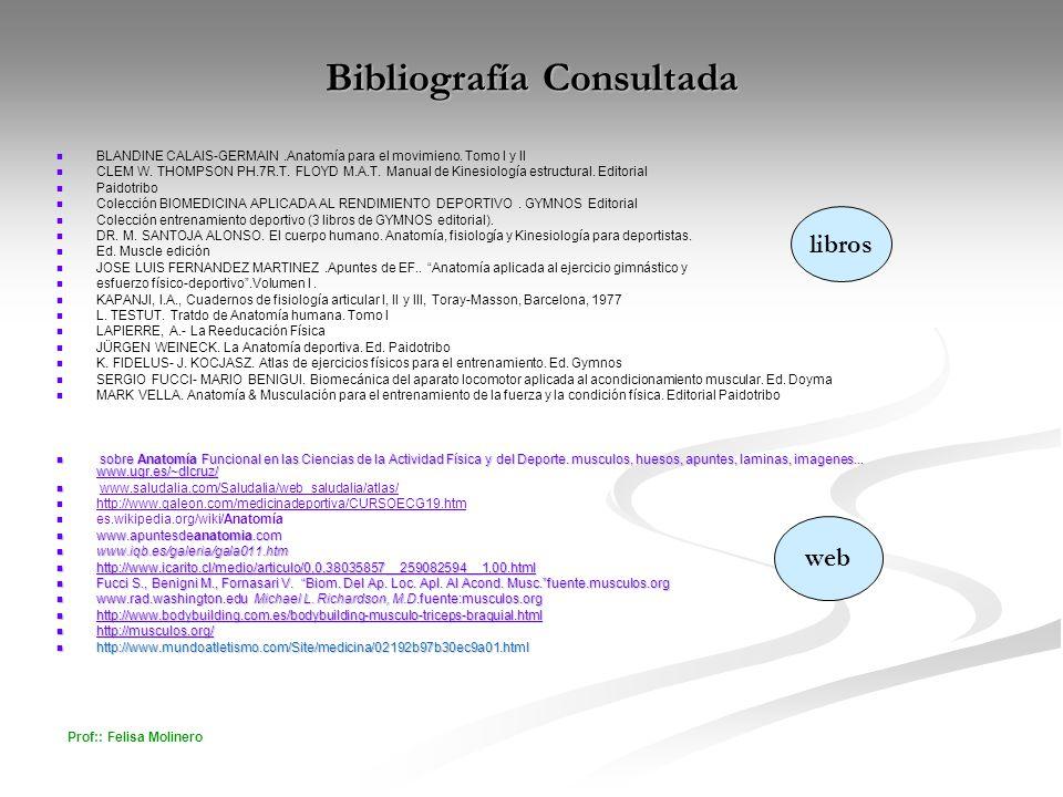 Prof:: Felisa Molinero Bibliografía Consultada BLANDINE CALAIS-GERMAIN.Anatomía para el movimieno. Tomo I y II CLEM W. THOMPSON PH.7R.T. FLOYD M.A.T.