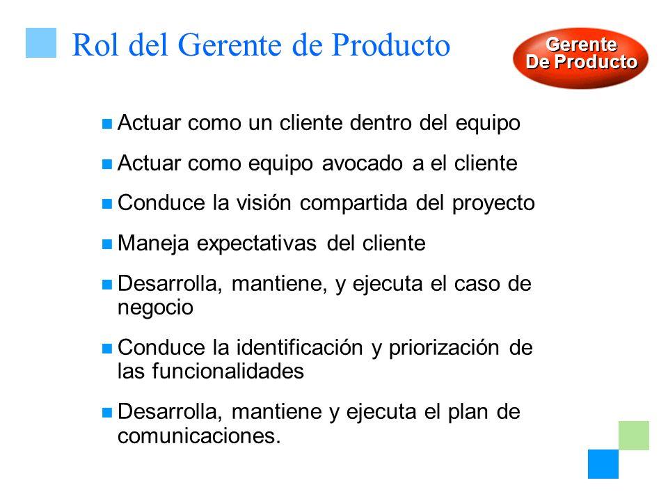 Rol del Gerente de Producto Actuar como un cliente dentro del equipo Actuar como equipo avocado a el cliente Conduce la visión compartida del proyecto