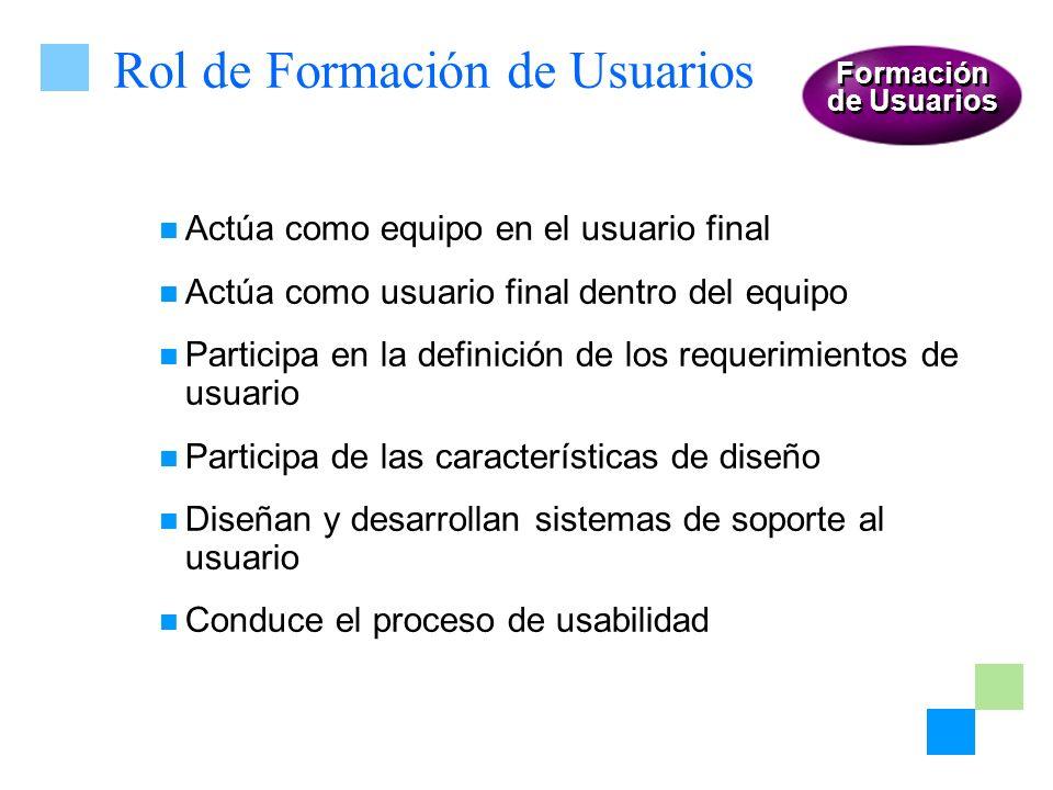 Rol de Formación de Usuarios Actúa como equipo en el usuario final Actúa como usuario final dentro del equipo Participa en la definición de los requer