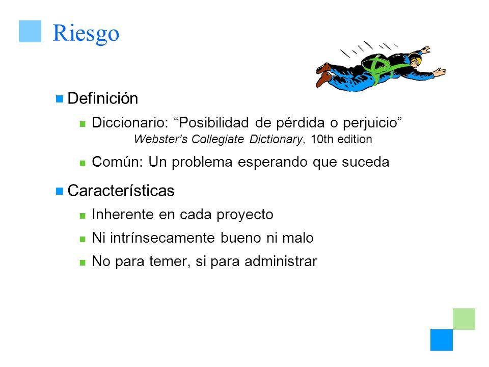 Riesgo Definición Diccionario: Posibilidad de pérdida o perjuicio Websters Collegiate Dictionary, 10th edition Común: Un problema esperando que suceda