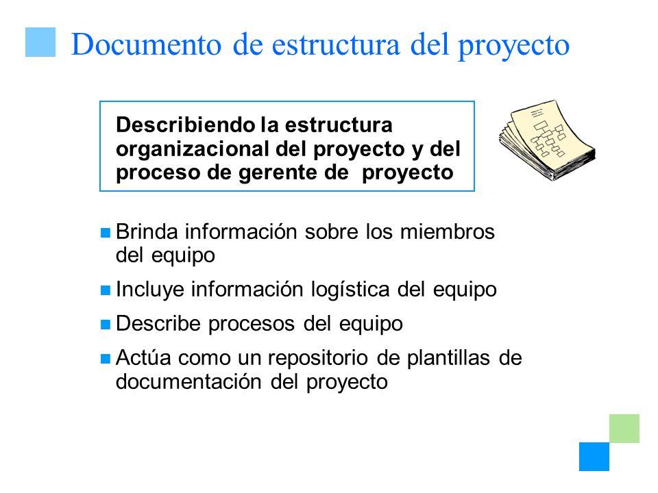 Documento de estructura del proyecto Describiendo la estructura organizacional del proyecto y del proceso de gerente de proyecto Brinda información so