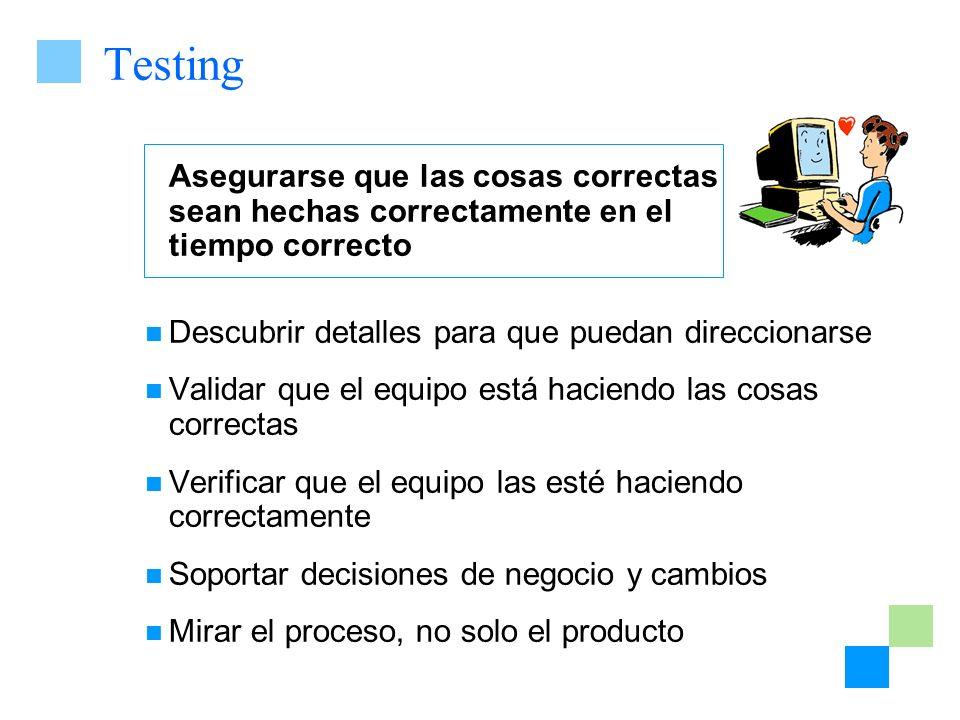 Testing Asegurarse que las cosas correctas sean hechas correctamente en el tiempo correcto Descubrir detalles para que puedan direccionarse Validar qu