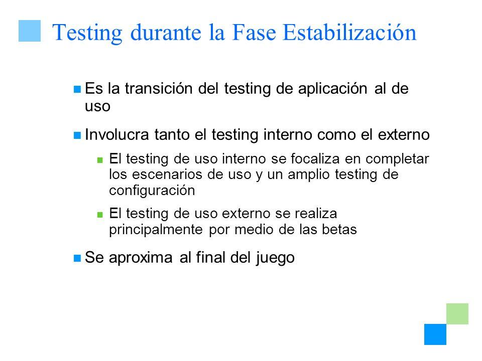 Testing durante la Fase Estabilización Es la transición del testing de aplicación al de uso Involucra tanto el testing interno como el externo El test