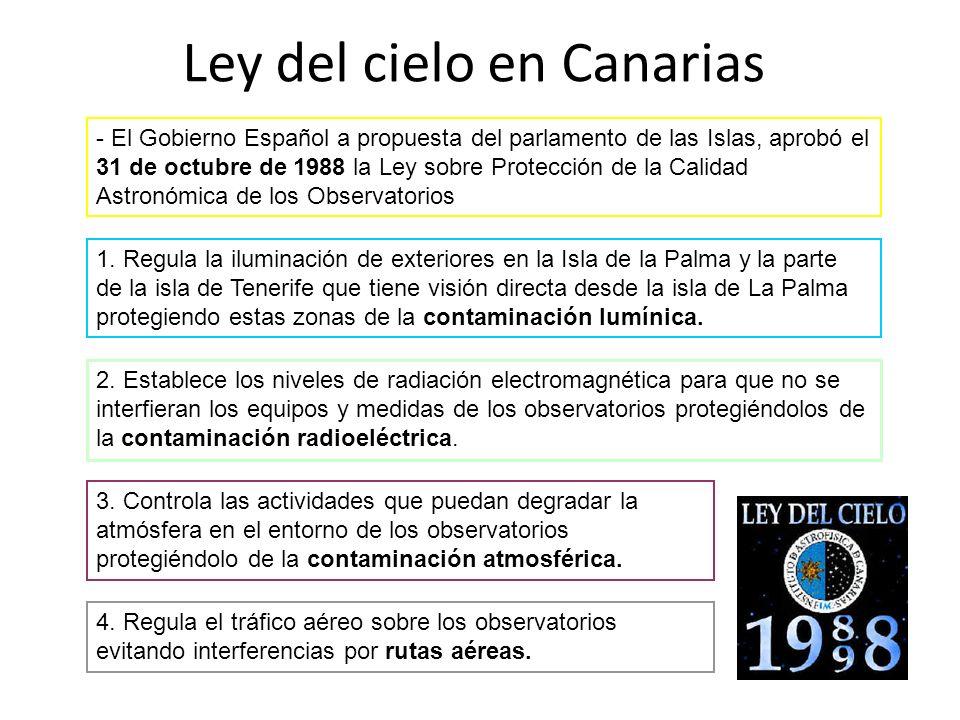 Ley del cielo en Canarias - El Gobierno Español a propuesta del parlamento de las Islas, aprobó el 31 de octubre de 1988 la Ley sobre Protección de la