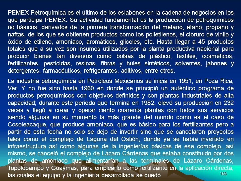 100 PEMEX Petroquímica es el último de los eslabones en la cadena de negocios en los que participa PEMEX. Su actividad fundamental es la producción de