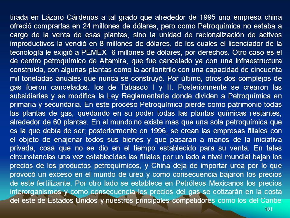 101 tirada en Lázaro Cárdenas a tal grado que alrededor de 1995 una empresa china ofreció comprarlas en 24 millones de dólares, pero como Petroquímica