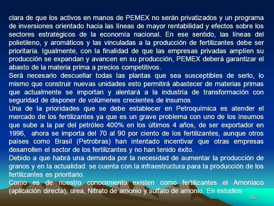 107 clara de que los activos en manos de PEMEX no serán privatizados y un programa de inversiones orientado hacia las líneas de mayor rentabilidad y e
