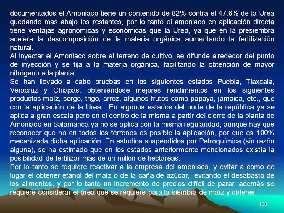 108 documentados el Amoniaco tiene un contenido de 82% contra el 47.6% de la Urea quedando mas abajo los restantes, por lo tanto el amoniaco en aplica