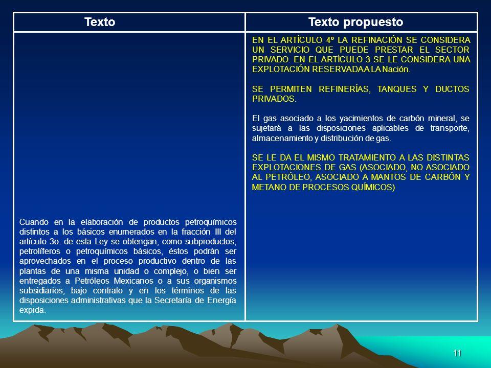 11 TextoTexto propuesto EN EL ARTÍCULO 4º LA REFINACIÓN SE CONSIDERA UN SERVICIO QUE PUEDE PRESTAR EL SECTOR PRIVADO. EN EL ARTÍCULO 3 SE LE CONSIDERA