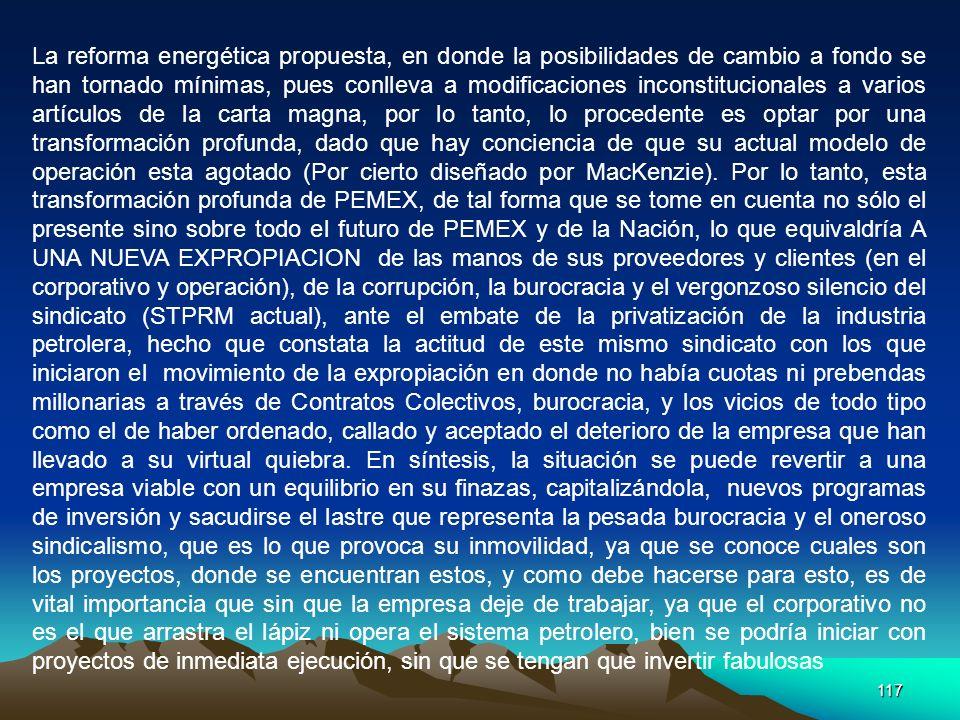 117 La reforma energética propuesta, en donde la posibilidades de cambio a fondo se han tornado mínimas, pues conlleva a modificaciones inconstitucion