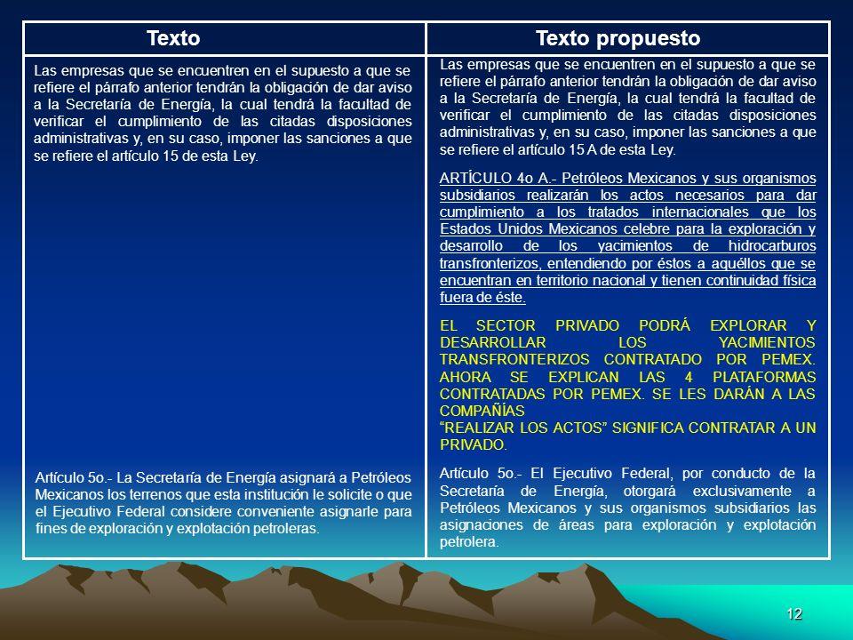 12 TextoTexto propuesto Las empresas que se encuentren en el supuesto a que se refiere el párrafo anterior tendrán la obligación de dar aviso a la Sec