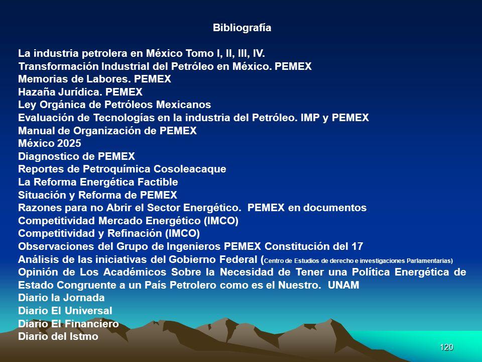 120 Bibliografía La industria petrolera en México Tomo I, II, III, IV. Transformación Industrial del Petróleo en México. PEMEX Memorias de Labores. PE