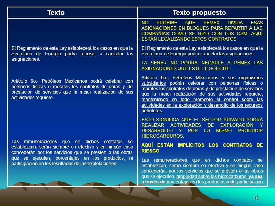 13 TextoTexto propuesto NO PROHIBE QUE PEMEX DIVIDA ESAS ASIGNACIONES EN BLOQUES PARA REPARTIR A LAS COMPAÑÍAS COMO SE HIZO CON LOS CSM. AQUÍ ESTÁN LE