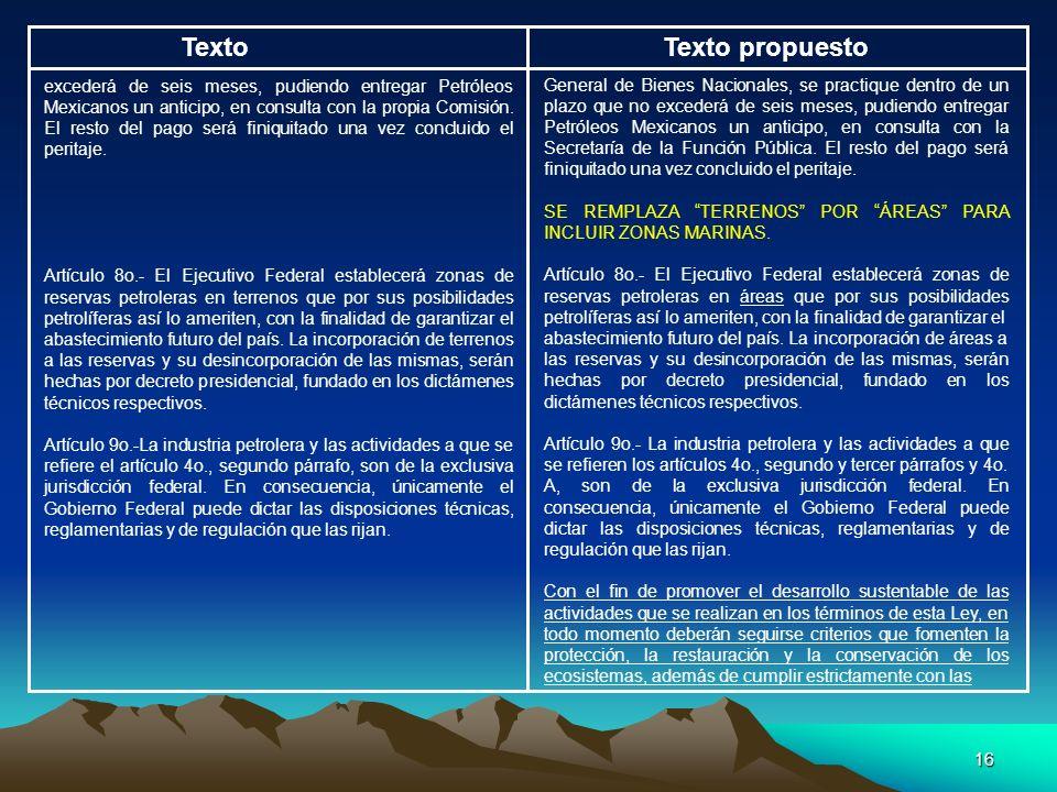 16 TextoTexto propuesto excederá de seis meses, pudiendo entregar Petróleos Mexicanos un anticipo, en consulta con la propia Comisión. El resto del pa