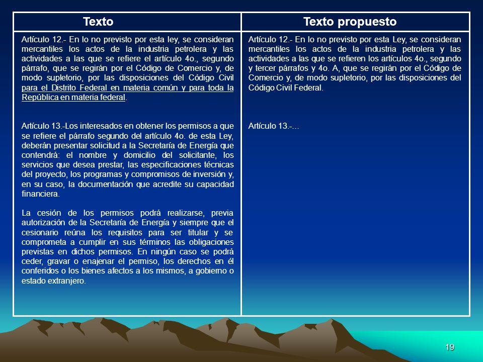 19 TextoTexto propuesto Artículo 12.- En lo no previsto por esta ley, se consideran mercantiles los actos de la industria petrolera y las actividades