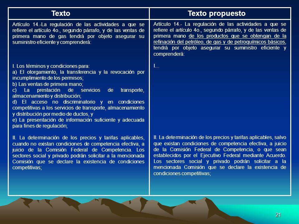 21 TextoTexto propuesto Artículo 14.-La regulación de las actividades a que se refiere el artículo 4o., segundo párrafo, y de las ventas de primera ma