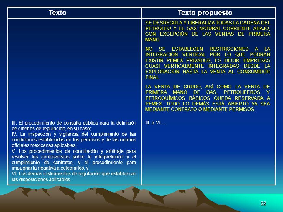 22 TextoTexto propuesto SE DESREGULA Y LIBERALIZA TODAS LA CADENA DEL PETRÓLEO Y EL GAS NATURAL CORRIENTE ABAJO, CON EXCEPCIÓN DE LAS VENTAS DE PRIMER
