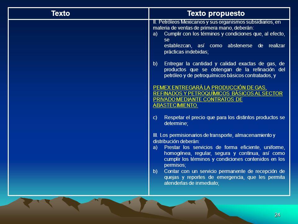 24 TextoTexto propuesto II. Petróleos Mexicanos y sus organismos subsidiarios, en materia de ventas de primera mano, deberán: a) Cumplir con los térmi