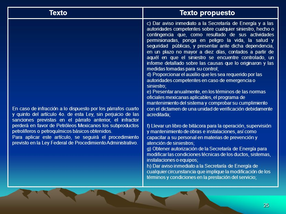 25 TextoTexto propuesto c) Dar aviso inmediato a la Secretaría de Energía y a las autoridades competentes sobre cualquier siniestro, hecho o contingen