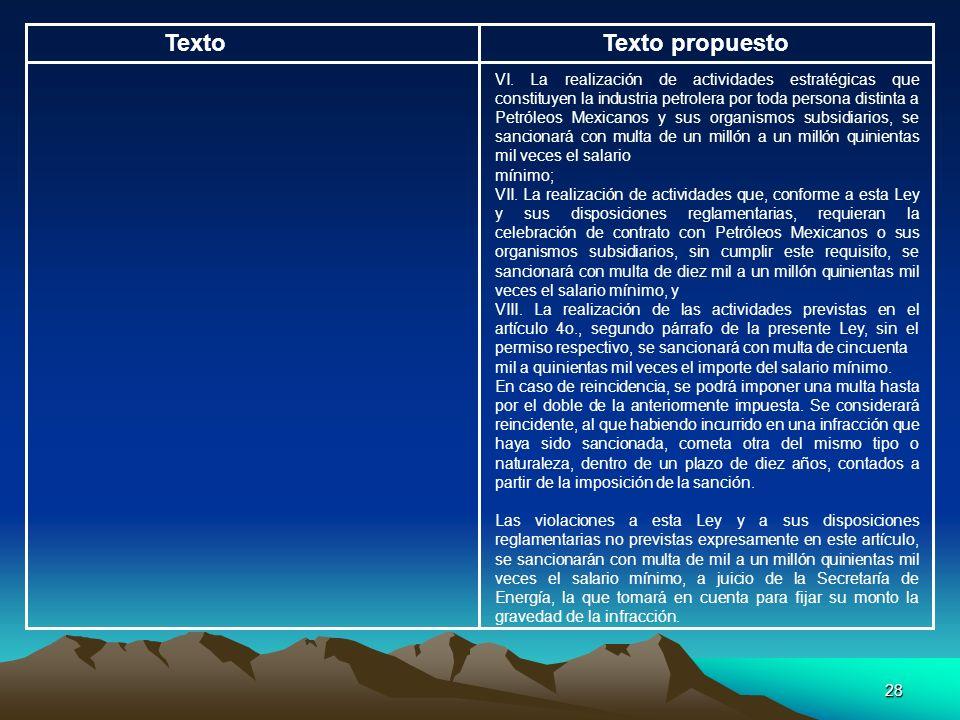 28 TextoTexto propuesto VI. La realización de actividades estratégicas que constituyen la industria petrolera por toda persona distinta a Petróleos Me
