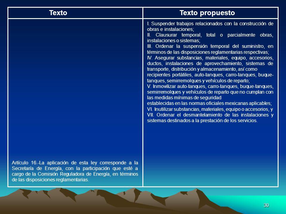30 TextoTexto propuesto I. Suspender trabajos relacionados con la construcción de obras e instalaciones; II. Clausurar temporal, total o parcialmente