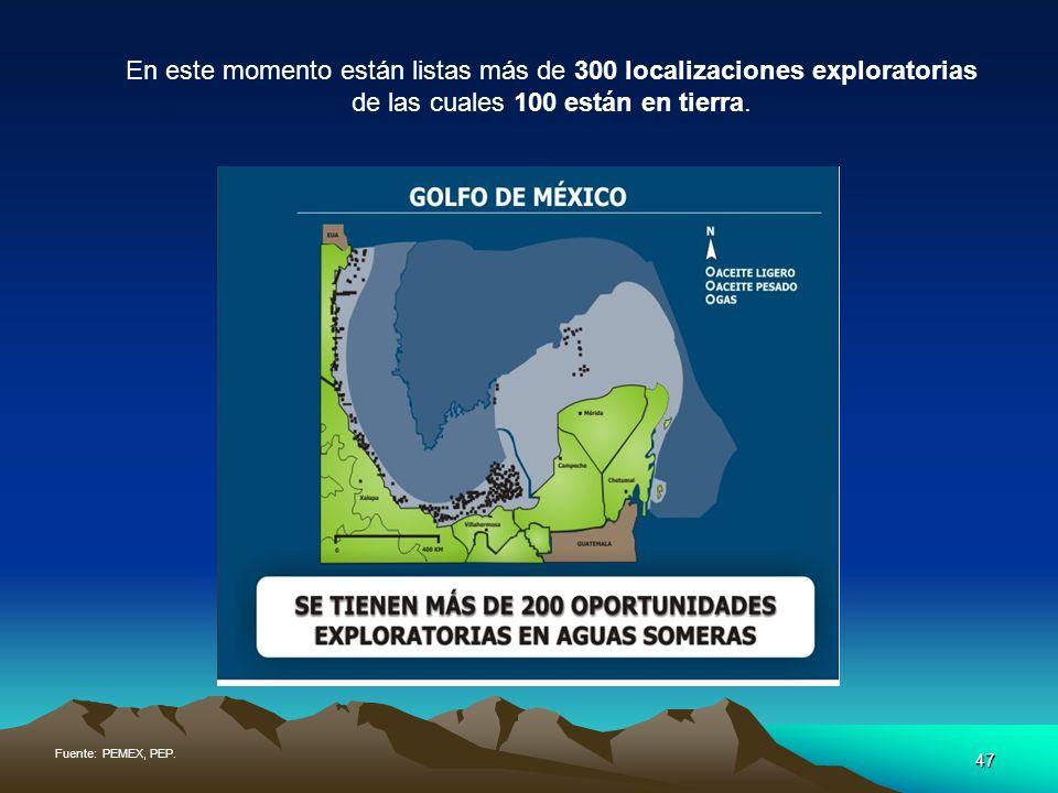 47 En este momento están listas más de 300 localizaciones exploratorias de las cuales 100 están en tierra. Fuente: PEMEX, PEP.