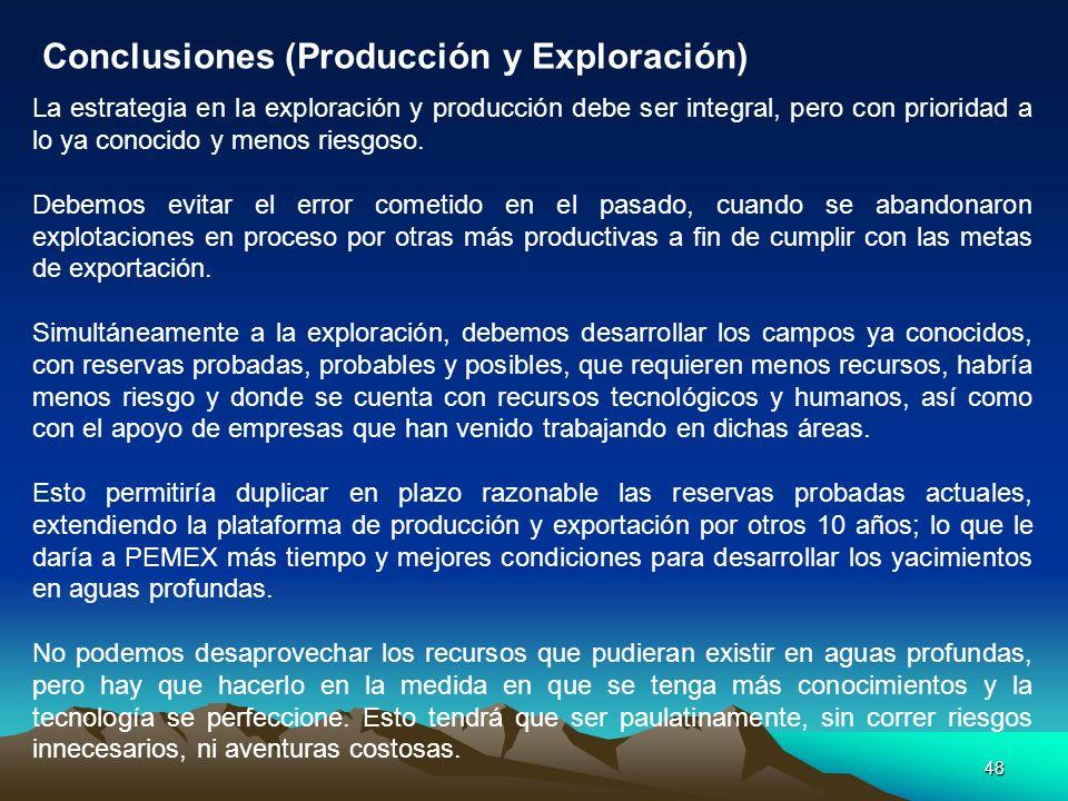 48 La estrategia en la exploración y producción debe ser integral, pero con prioridad a lo ya conocido y menos riesgoso. Debemos evitar el error comet