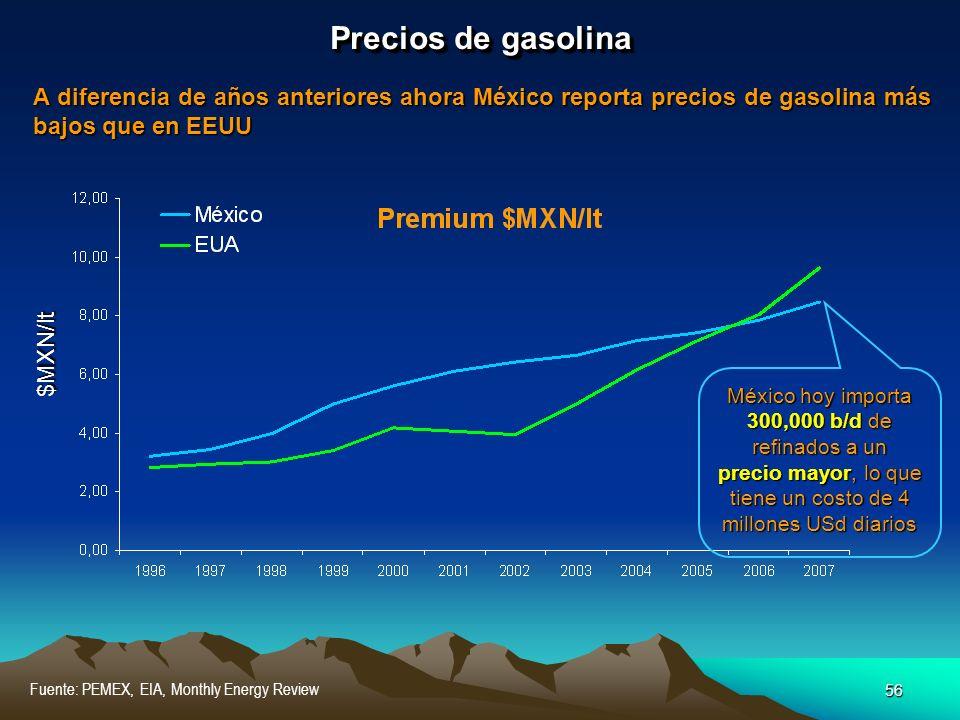56 Fuente: PEMEX, EIA, Monthly Energy Review Precios de gasolina A diferencia de años anteriores ahora México reporta precios de gasolina más bajos qu