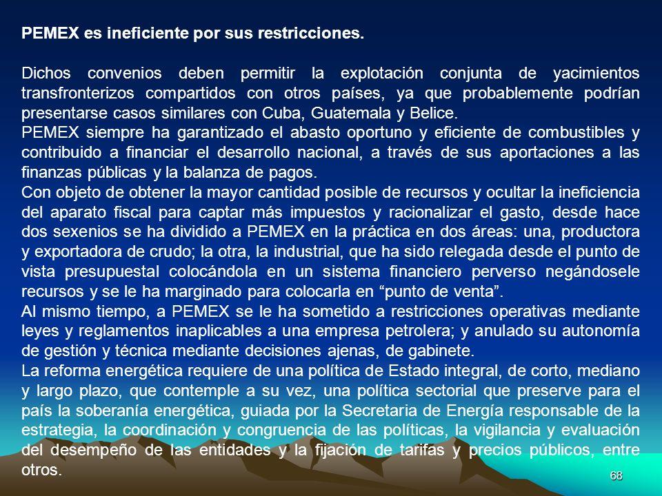 68 PEMEX es ineficiente por sus restricciones. Dichos convenios deben permitir la explotación conjunta de yacimientos transfronterizos compartidos con
