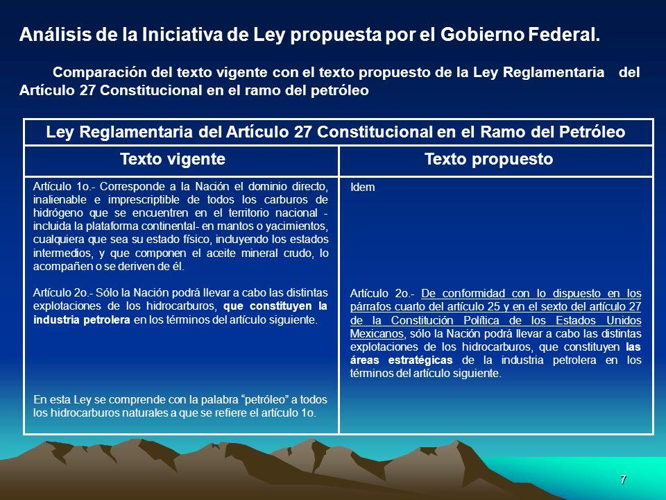 7 Análisis de la Iniciativa de Ley propuesta por el Gobierno Federal. Comparación del texto vigente con el texto propuesto de la Ley Reglamentaria del
