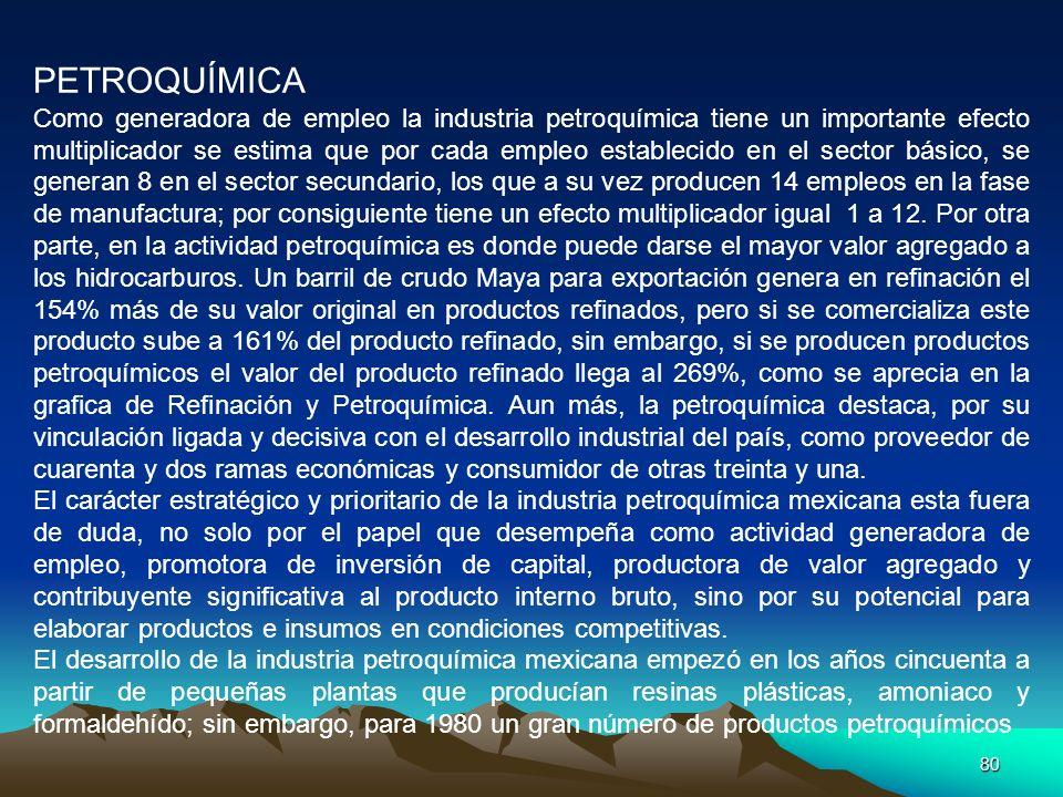 80 PETROQUÍMICA Como generadora de empleo la industria petroquímica tiene un importante efecto multiplicador se estima que por cada empleo establecido