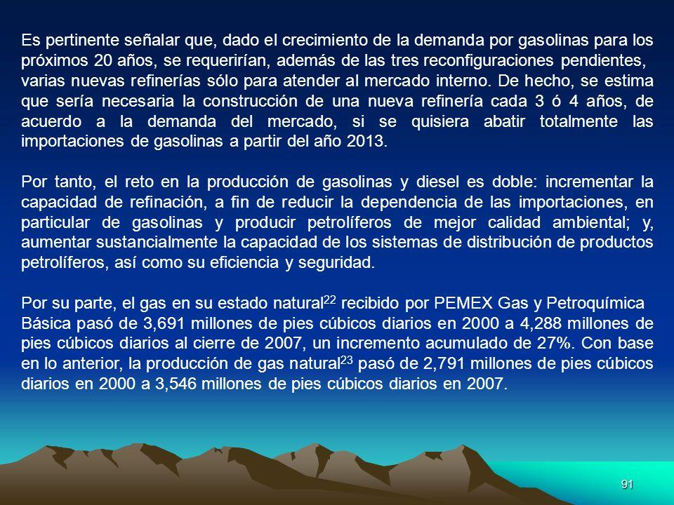 91 Es pertinente señalar que, dado el crecimiento de la demanda por gasolinas para los próximos 20 años, se requerirían, además de las tres reconfigur