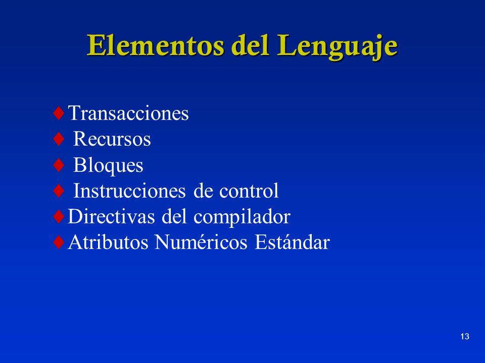 13 Elementos del Lenguaje Transacciones Recursos Bloques Instrucciones de control Directivas del compilador Atributos Numéricos Estándar