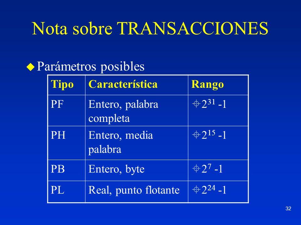 32 Nota sobre TRANSACCIONES u Parámetros posibles TipoCaracterísticaRango PFEntero, palabra completa 2 31 -1 PHEntero, media palabra 2 15 -1 PBEntero,