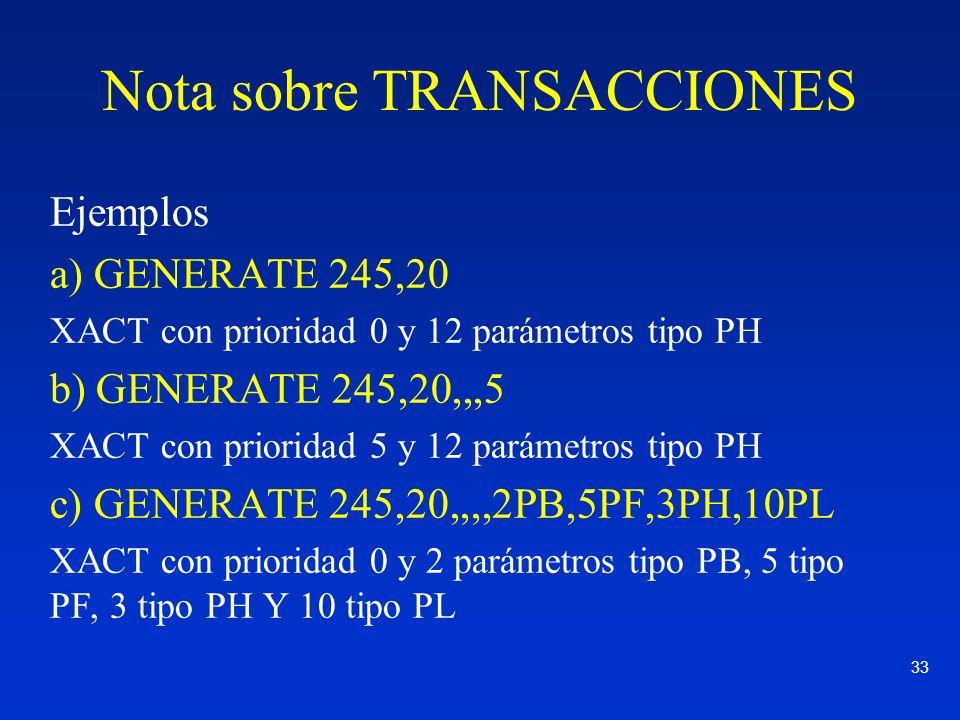 33 Nota sobre TRANSACCIONES Ejemplos a) GENERATE 245,20 XACT con prioridad 0 y 12 parámetros tipo PH b) GENERATE 245,20,,,5 XACT con prioridad 5 y 12