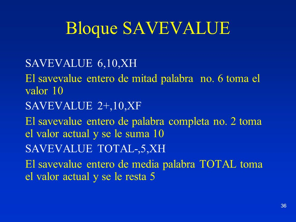 36 Bloque SAVEVALUE SAVEVALUE 6,10,XH El savevalue entero de mitad palabra no. 6 toma el valor 10 SAVEVALUE 2+,10,XF El savevalue entero de palabra co