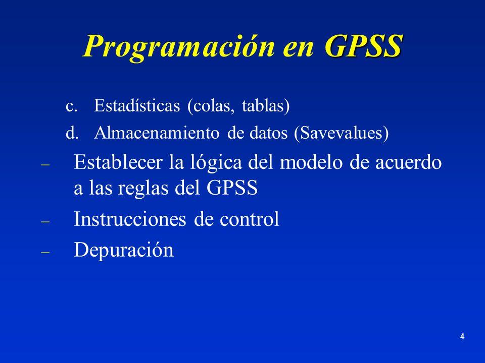 4 GPSS Programación en GPSS c.Estadísticas (colas, tablas) d.Almacenamiento de datos (Savevalues) – Establecer la lógica del modelo de acuerdo a las r